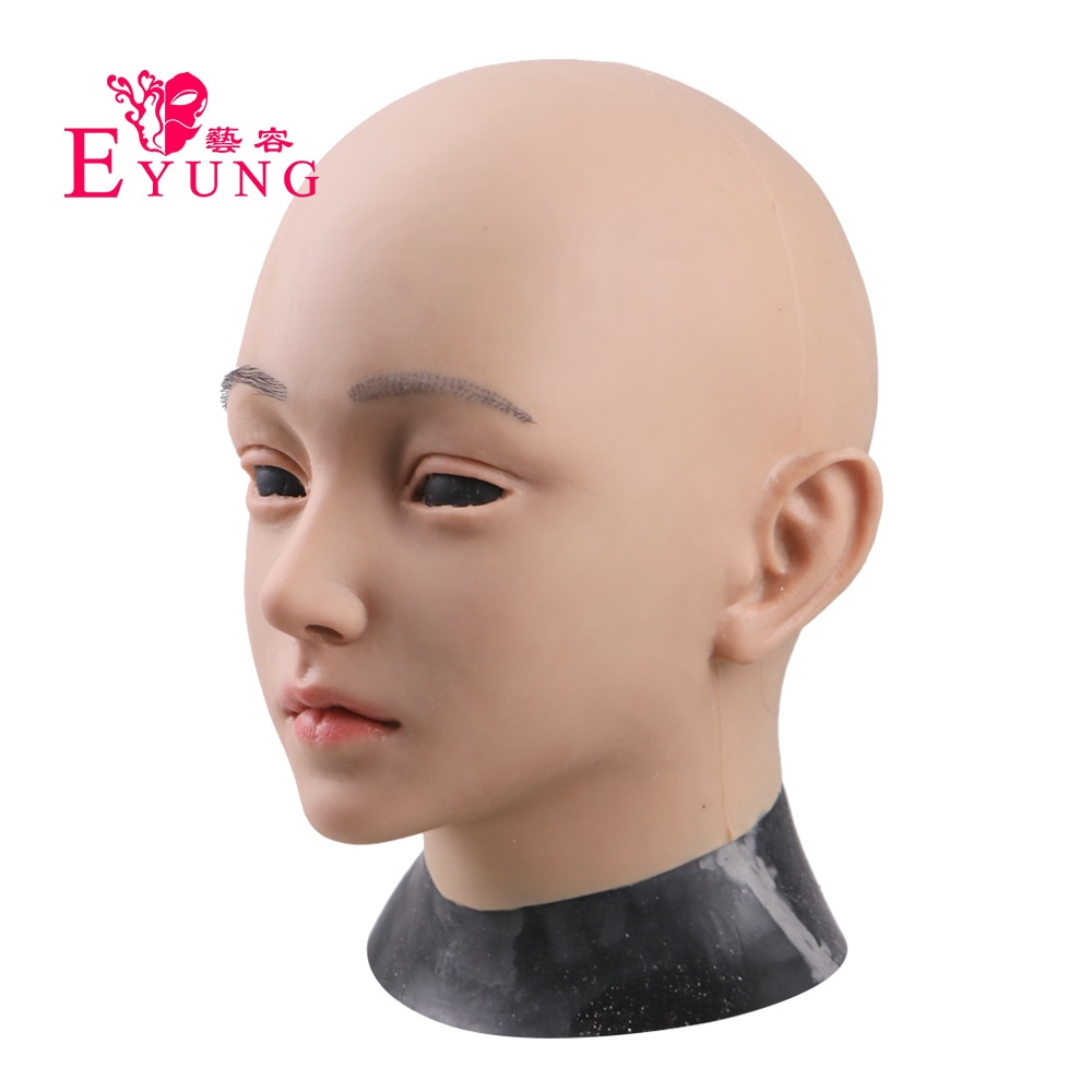 Eyung crossخلع الملابس المتحولين جنسيا واقعية أنثى سيليكون رئيس الوجه أفضل قناع الجلد هالوين الرقص حفلة تنكرية الدعامة
