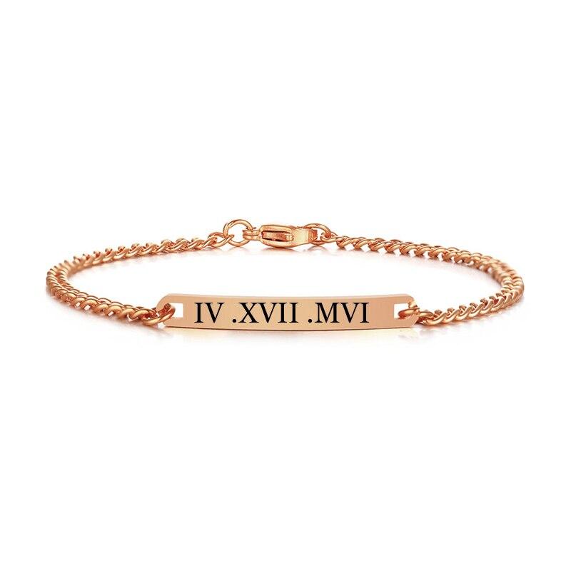 585 oro rosa personalizado nombre coordenadas mujeres ID pulsera de acero inoxidable Barra de enlace brazalete