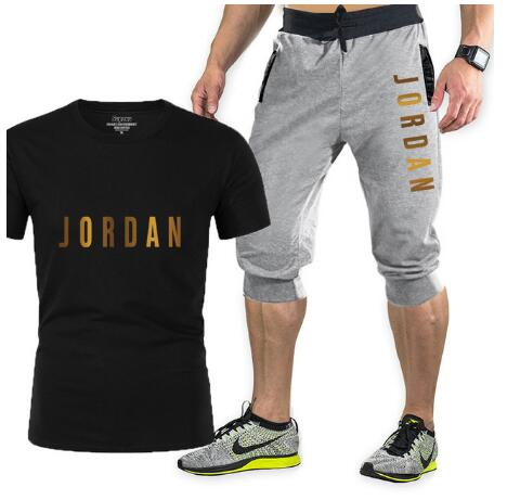 T-shirt + men's and women's pants, two-piece casual sportswear, printed sports suit, gym and fitness pants, new in 2021
