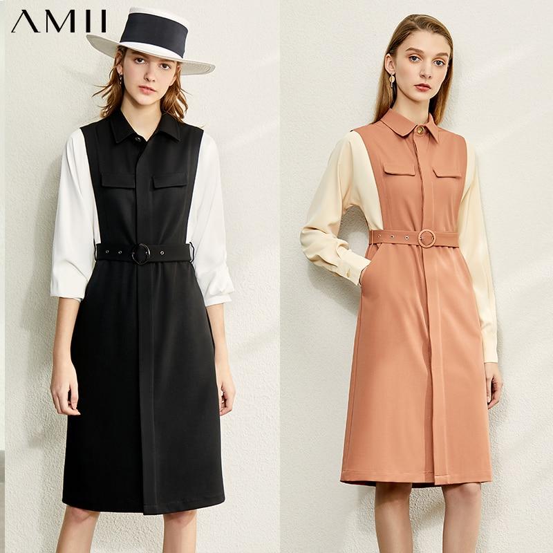 Amii minimalismo outono moda emendado vestido feminino lapela causal manga completa cintura alta na altura do joelho vestido feminino 12030084