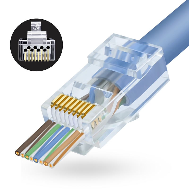 Коннектор CNCOB RJ45 Cat6 UTP Позолоченные проходные кабели Ethernet сетевые технические Кристальные головки Cat5 Cat5e