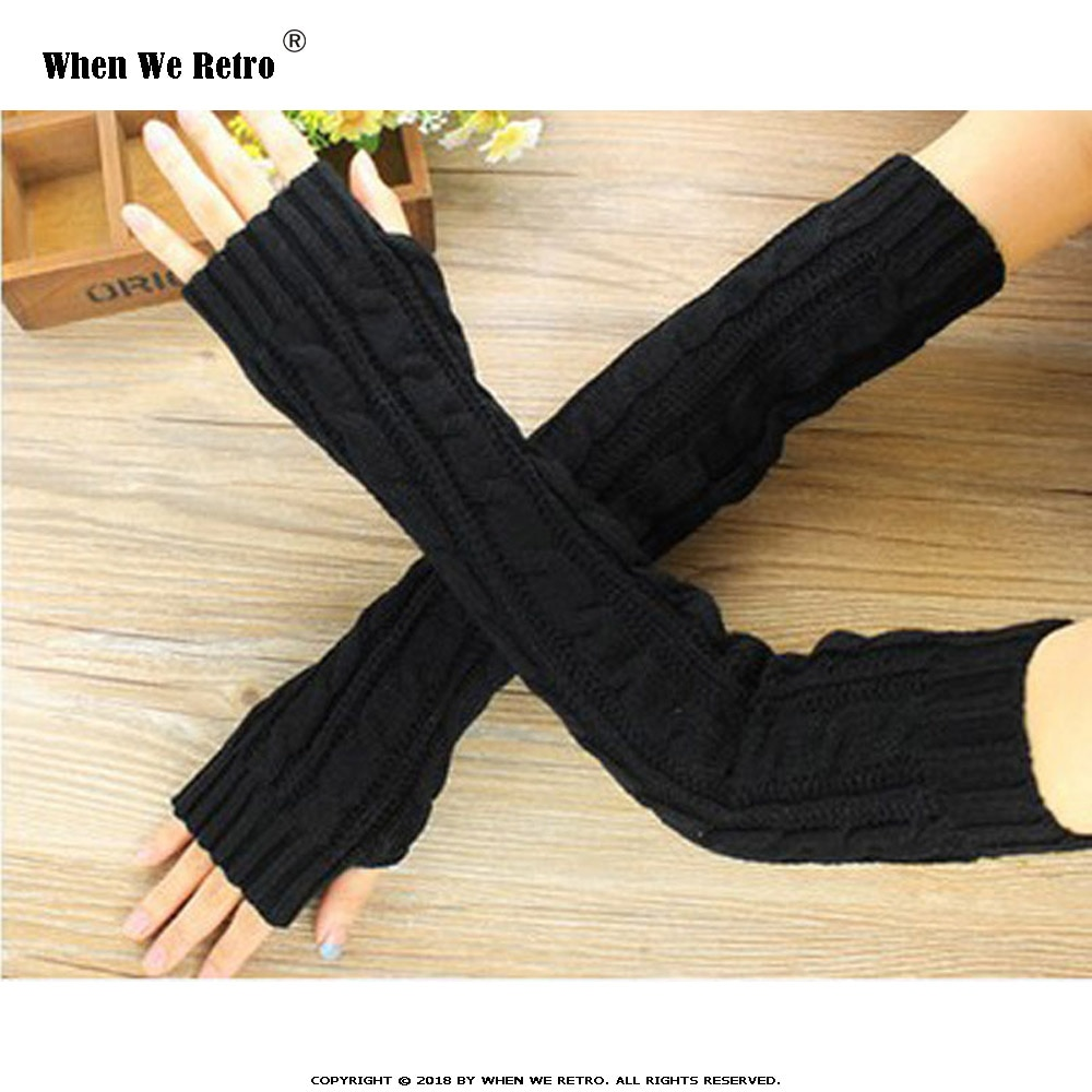 When We Retro Spring Women Arm Warmers Winter Fashion Fingerless Gloves Knitted Mitten Long Guantes Gloves QY0531