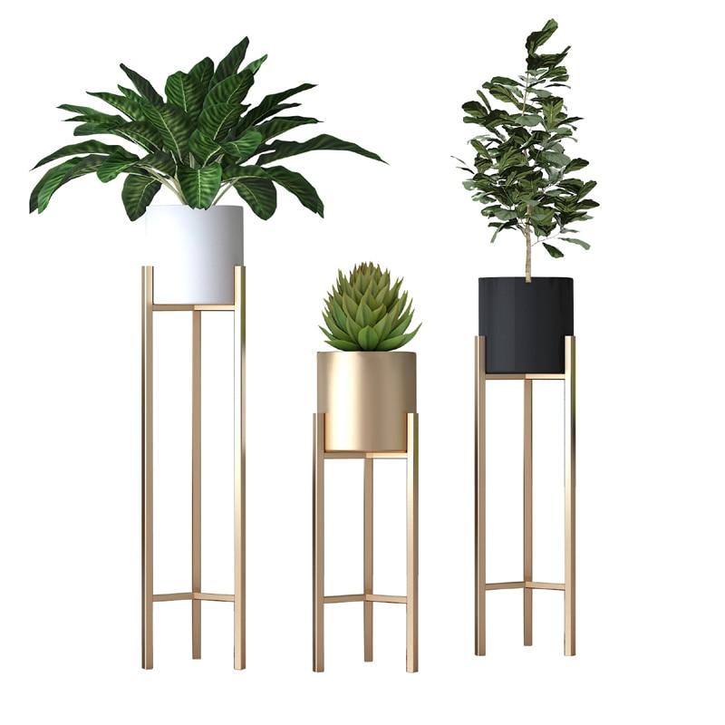 Nordic Modern Simple Home Living Room Creative Green Dill Flower Shelf Floor Iron Flower Stand  Ins Golden Flower Pot Stand