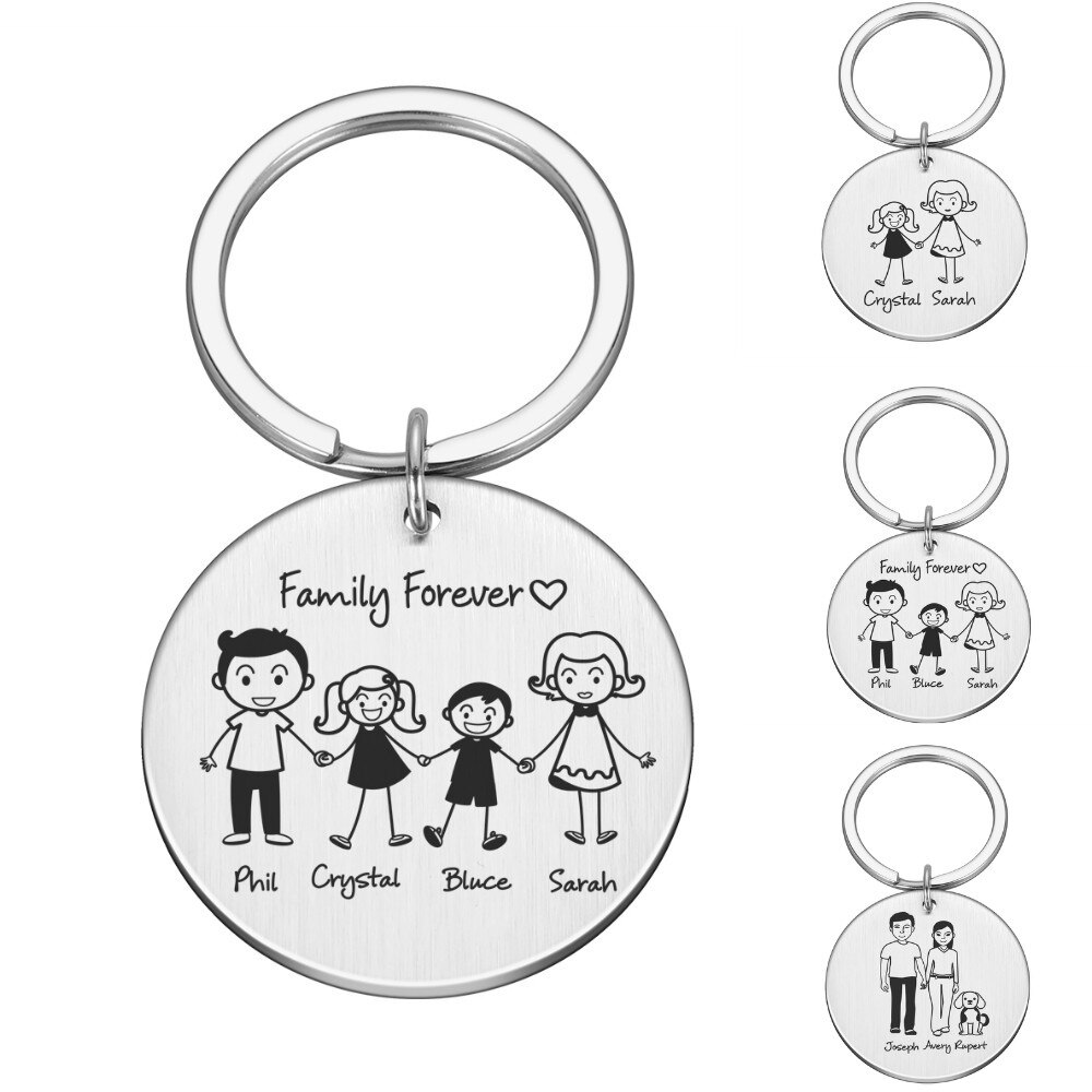 Personalized Family Gifts Keychain Custom Mom Dad Daughter Son Pet Key Chain Engraved Stainless Stee