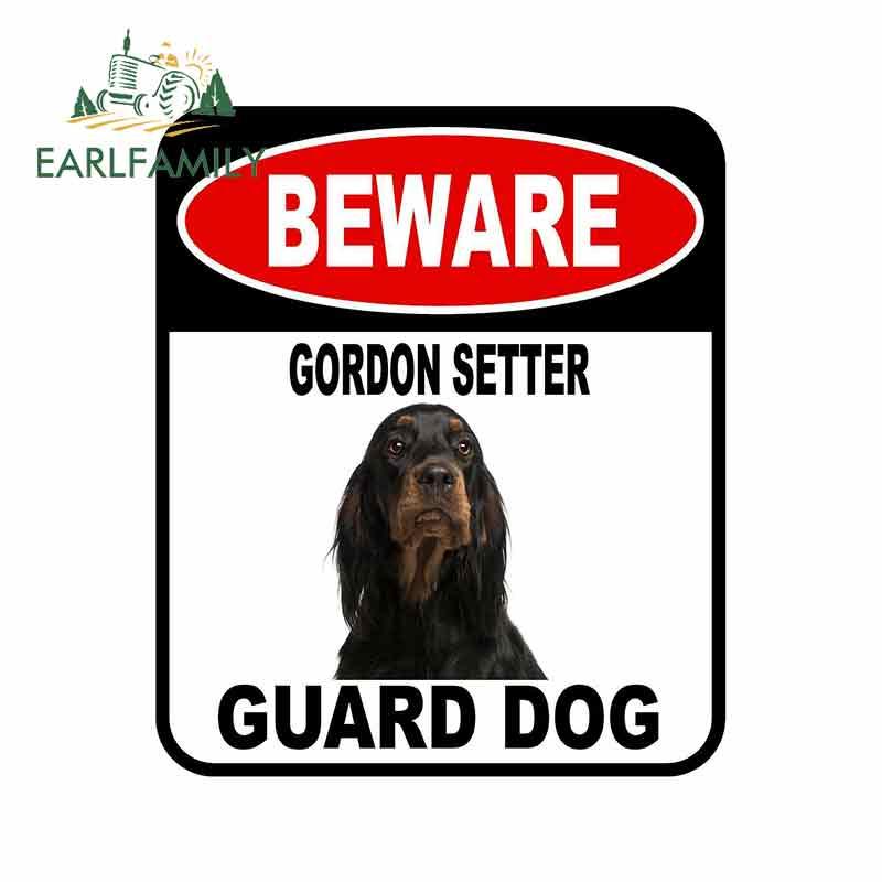 EARLFAMILY 13cm x 11cm BEWARE GORDON SETTER GUARD DOG Car Sticker Cover Scratches Composite Sign Pet Dog Decal