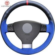 LQTENLEO-couverture de volant de voiture   Cuir noir bleu daim pour Volkswagen Golf 5 Mk5 Sagitar Magotan Passat B6 Jetta5 Mk5 Tiguan