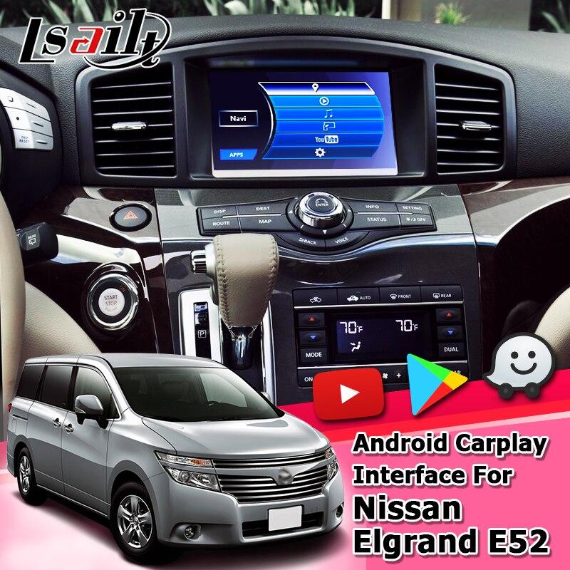 Lsailt-صندوق واجهة Android / Carplay ، نظام تحديد المواقع العالمي للملاحة ، واجهة فيديو لنيسان Elgrand E52 2010-19 ، مورانو باترول Lsailt