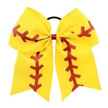 8 Big Softball Team Baseball Cheer Bows Handmade Ribbon Glitter Stiches with Ponytail Hair Holders for Cheerleading Girls A246