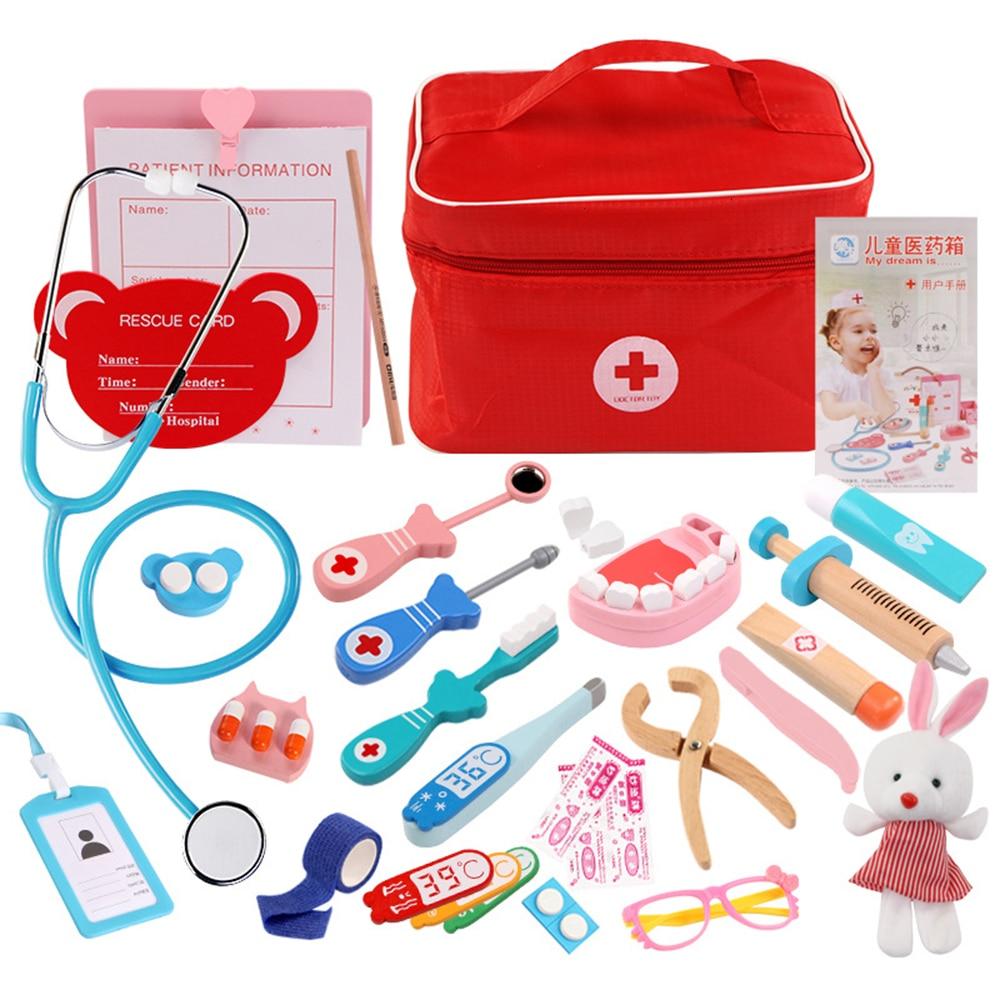 Juego de juguetes de madera para niños, juego de simulación médica, juego de cofre para niños