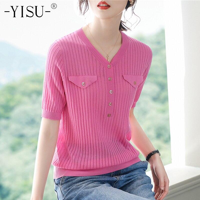 Yisu t camisas femininas verão casual gelo seda v pescoço manga curta camiseta moda falso bolso design rosca camiseta sólido