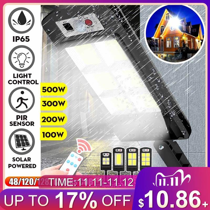 Led solar luzes de rua 128 cob ao ar livre iluminação lâmpada segurança movimento pir sensor controle remoto à prova dlamp água lâmpada parede