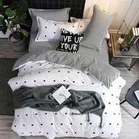 nordic style bedding printing three piece suit with heart us size snowflakes pattern christmas stripes white quilt cover a5u6