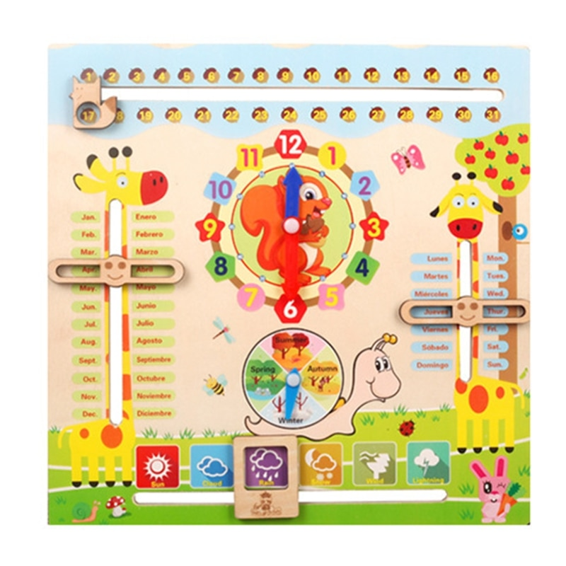 Educational Toys for 3 Year Old, Learning Clock for Kids, All About Today Board, Teaching Time Monthly Calendar