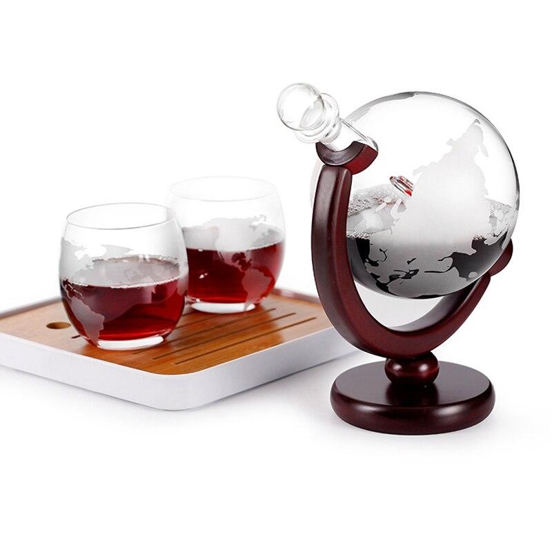 Globe Whiskey Decanter Set 800Ml Wine Brandy Dispenser Craft Skull Wine Bottle Holder Decanter Wine Bar Home Party Decoration