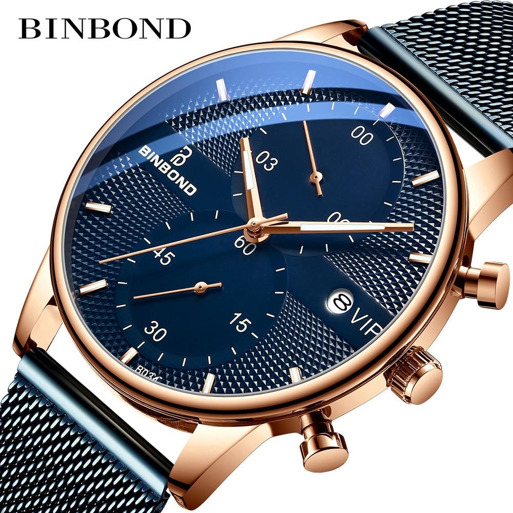 Binbond Wristwatch Fashion Ultra-thin Automatic Business Men Watches Top Brand Luxury 30M Waterproof