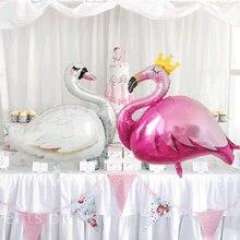 1pcs white swan balloon flamingo Crown ballons happy Birthday Party Decorations baby shower girl animals Coconut cactus globos