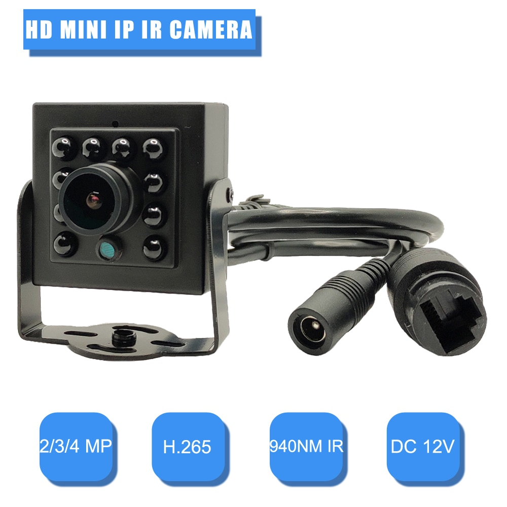 كاميرا مراقبة IP صغيرة عالية الدقة 2 ميجابكسل/3 ميجابكسل/4 ميجابكسل ، رؤية ليلية بالأشعة تحت الحمراء ، LED 940 نانومتر ، أمن منزلي