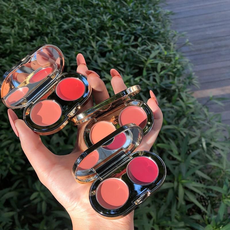2 farben Gesicht Erröten Palette Gesicht Creamy Pigmentierte Wange Rouge Berufs Natürlichen Make-Up Erröten Kontur Schatten