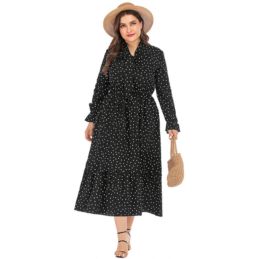 6XL Plus Size Shirt Dresses Women Polka Dot Summer Casual Long Sleeve Bohemian Maxi Dress Bow Knot Collar Tunic Beach Dresses