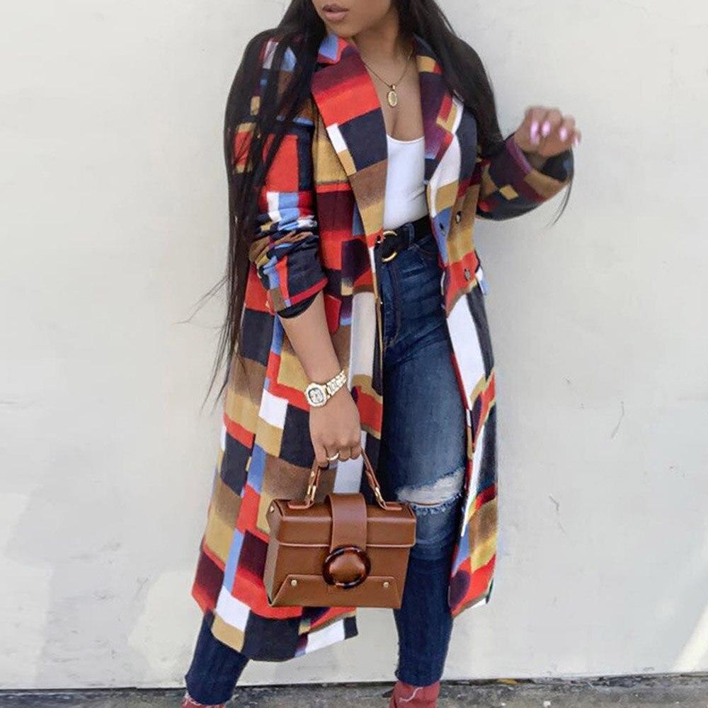 Cor xadrez casaco de lã feminino outono inverno longo casacos de lã plus size casaco 2019 moda senhoras africanas oversized outerwear 3xl