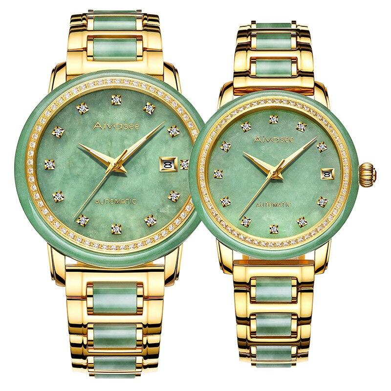 Genuine Original Jade Diamond Automatic Mens Mechanical Watch Calendar Hollow Jade-Emerald Wrist Watches Women Support Detectio