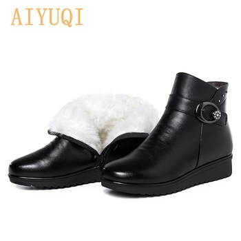AIYUQI Ladies Snow Boots Winter Mother Shoes Warm 2021 New Wool Ankle Boots Women Flat Non-slip Large Size Boots Women