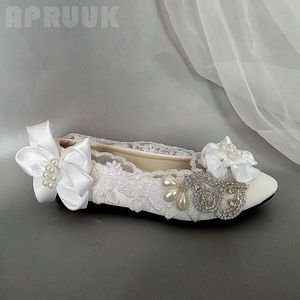 Crystal lace wedding flats shoes woman plus size 41 42 ladies satin butterfly-knot bridal party proms dress ceremony shoes