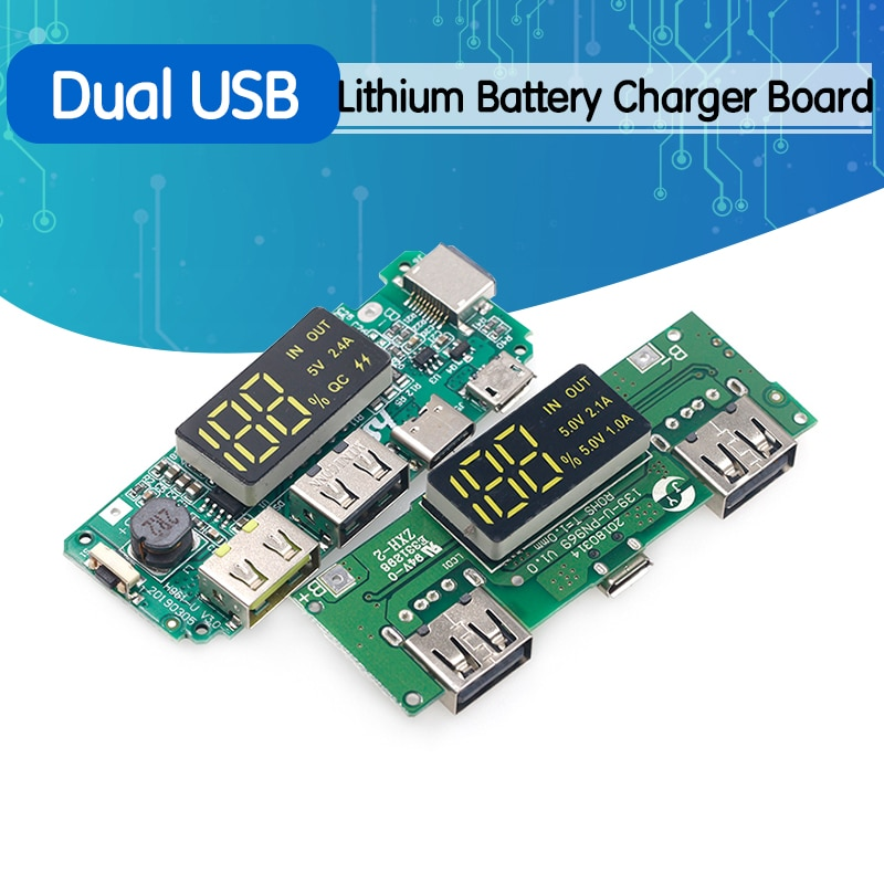 Lithium Battery Charger Board LED Dual USB 5V 2.4A Micro/Type-C USB Mobile Power Bank 18650 Charging