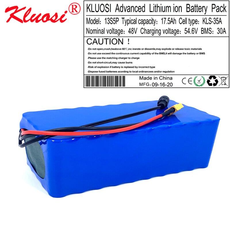 KLUOSI-بطارية ليثيوم أيون 48 فولت ، 54.6 فولت ، 17.5 أمبير ، 18 أمبير ، 13S5P ، مع BMS 30a ، لمحرك السكوتر الكهربائي ، الدراجة
