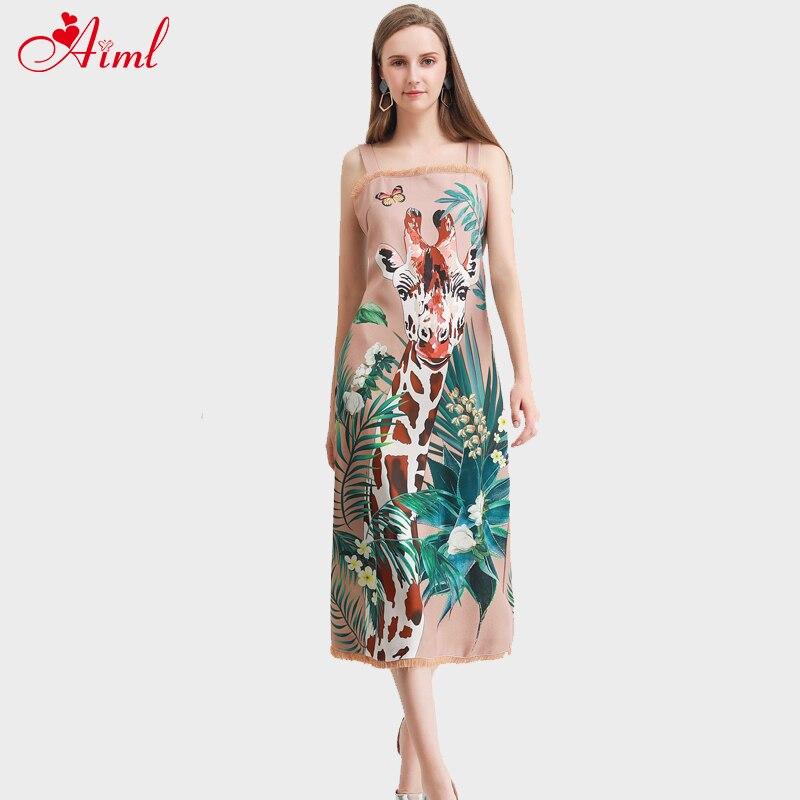 Designer de moda verão pista suspensórios vestido feminino caqui vintage animal girafa impressão floral borla férias midi vestido