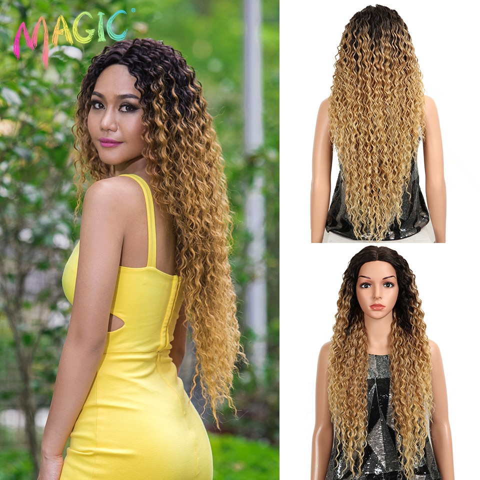 MAGIC Hair Kinky Curly Glueless High Temperature Fiber Hair 32 Inch Natural Wave Blonde Synthetic La