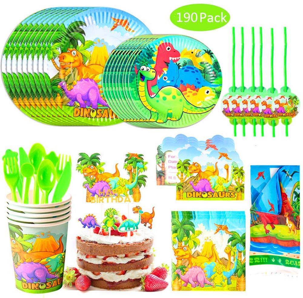 Nuevo volcán dinosaurio Fiesta Temática para niños fiesta de cumpleaños de la Mesa desechable tazas tenedores toallas de baño para bebés suministros