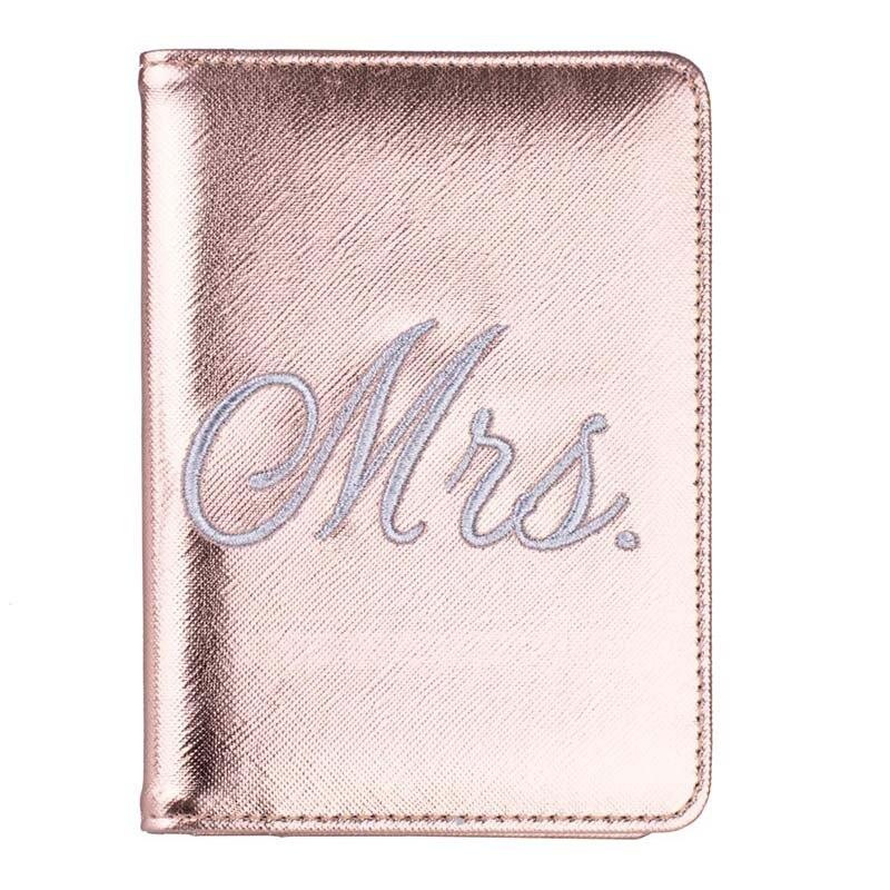 Nuevo RFID Mr & Mrs bordado pasaporte cubre cartera Unisex cuero titular de la tarjeta de crédito pasaporte de viaje funda protectora