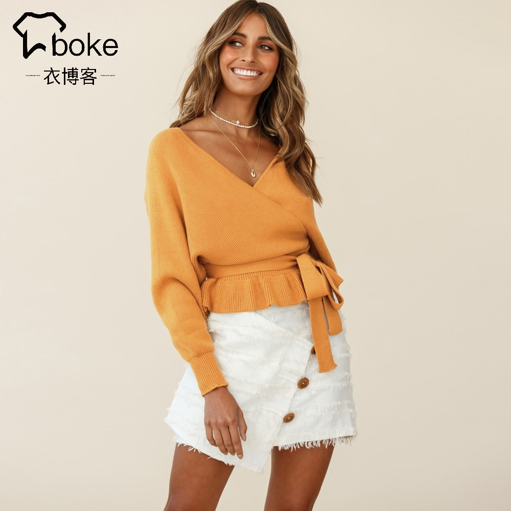 Sexy V-neck Sweater Women Knitted Bottoming Shirt 2021 Autumn New Solid Slim Pullover Casual Long Sleeve Soft Outside Sweater enlarge