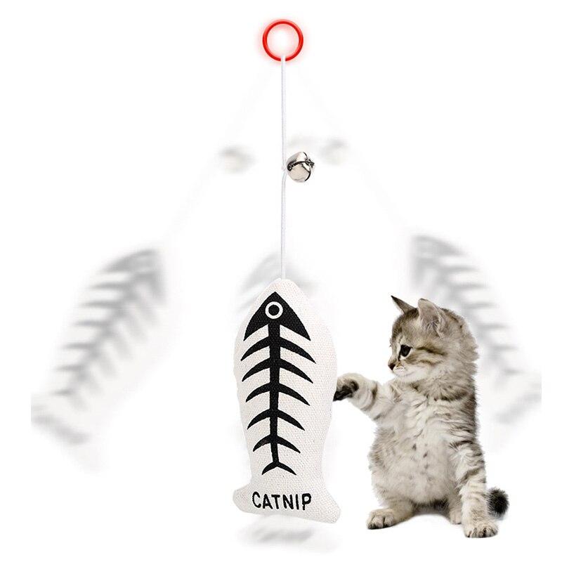 Animal de compagnie amusant coton élastique corde noeud avec des cloches peut tirer poisson motif chat jouets utilisés de lexercice formation mâcher dents nettoyage chat jouet