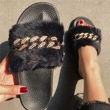 2020 패션 여성 슬리퍼 모피 여우 모피 슬라이드 홈 모피 플립 퍼 푹신한 플러시 하우스 신발 여성 겨울 따뜻한 슬리퍼 블랙