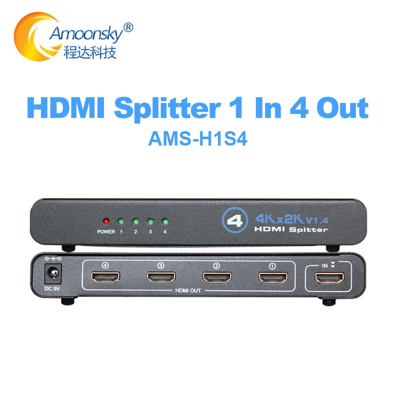 Interruptor empalmador Compatible con HDMI 4K, Adaptador 1x4, 1 en 4, HDMI1.4,...