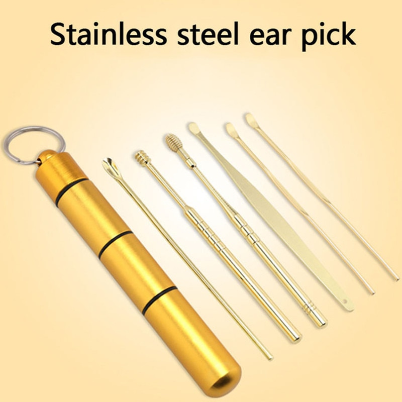 6 Pcs/Set Stainless Steel Spiral Ear Pick Spoon Ear Wax Removal Cleaner Multifunction Portable Ear P
