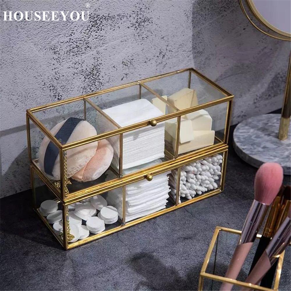 Retro borda de cobre vidro algodão caixa batom cosméticos jóias caixa armazenamento transparente ouro bronze maquiagem organizador do banheiro rack