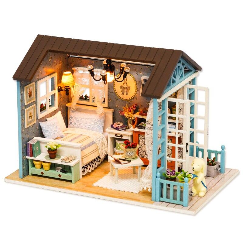 Кукольный домик CUTEBEE миниатюрный кукольный домик DIY с деревянная мебель для дома игрушки для детей подарок на день рождения Z007