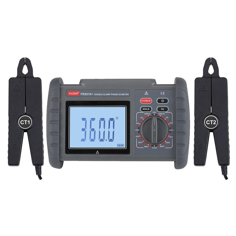 FUZRR FR2010 + doble abrazadera voltímetro de fase Digital corriente de voltaje y fase de frecuencia instrumento de medición