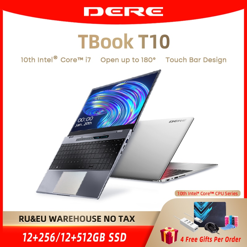 Review Dere TBook T10 15.6″ Intel Core I7-1065G7 Touch Bar Laptops 16GB 512GB SSD Windows 10 FHD Backlit Keyboard 2.4G+5G Wifi Notebook