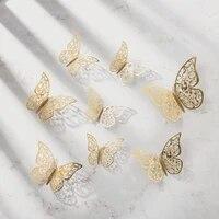 Autocollants muraux 3D ajoures  12 pieces  Stickers papillons pour refrigerateur  decoration pour la maison  nouveau Style  L1101