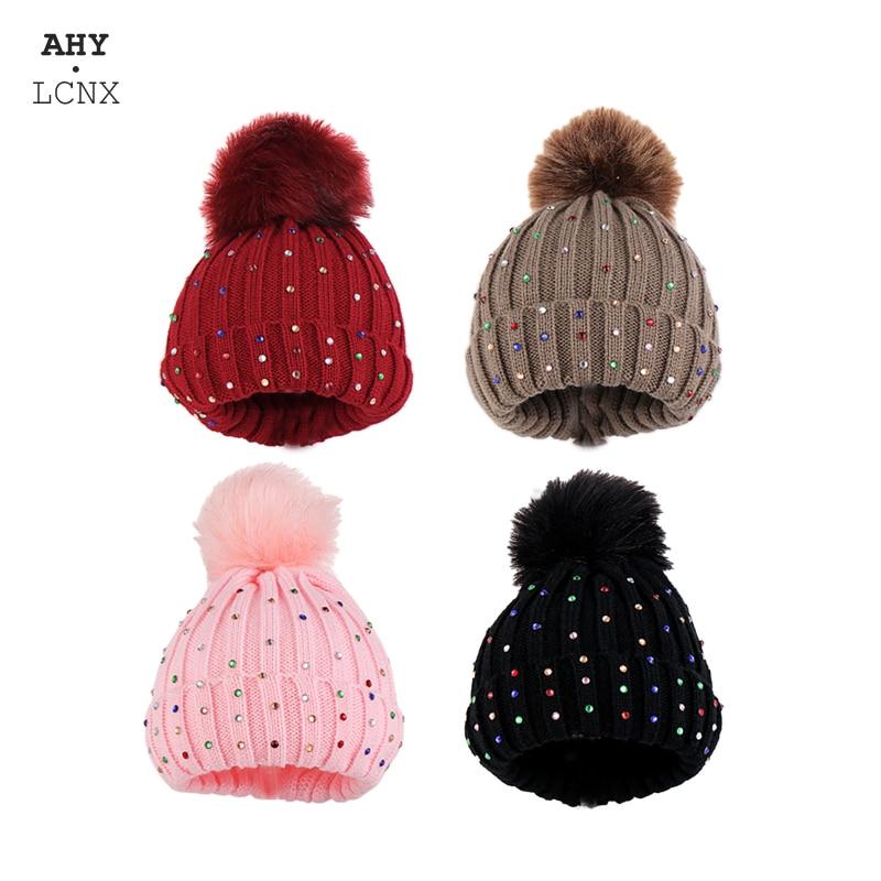 Bebê inverno quente chapéu crianças criança tricô chapéus infantil pompom boné diamante menino meninas crochê gorro crianças bonito hairball chapéus