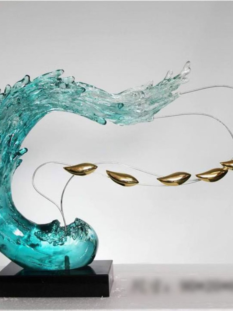 Art Decorative Water Like Resin Craft Abstract Sculpture Home Hotel Decoration Standing Sculptures enlarge