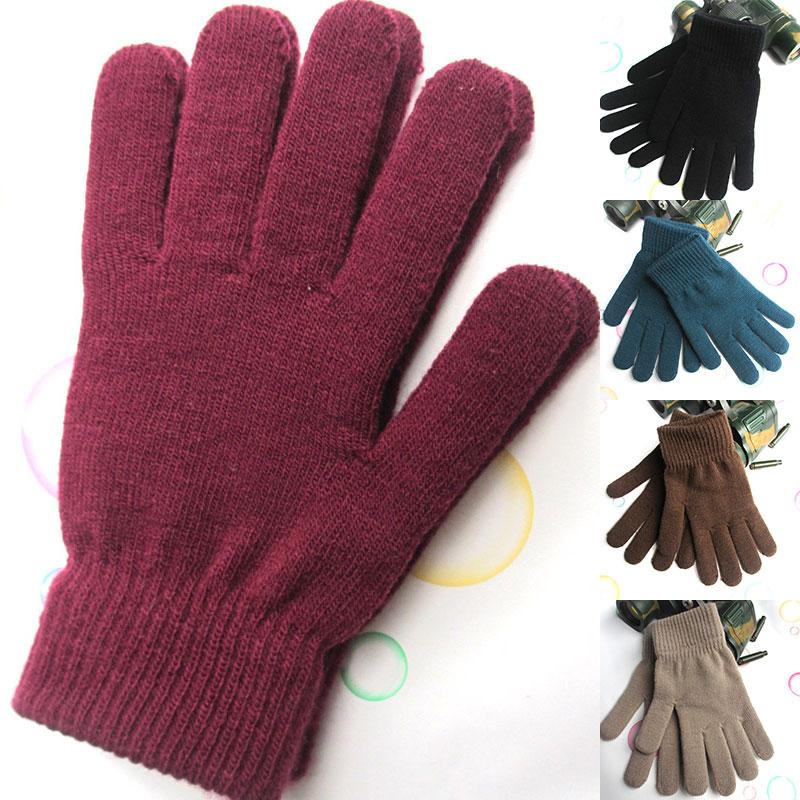 Перчатки с закрытыми пальцами, женские и мужские перчатки унисекс, трикотажные зимние теплые трикотажные перчатки стрейч из бархата