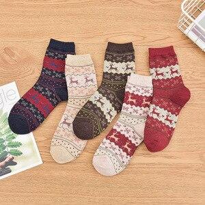 5 Pairs Autumn Winter Thicken Women Socks Christmas Deer Rabbit Hair Wool Middle Tube Cute Loop Warm Girl Kawaii Socks