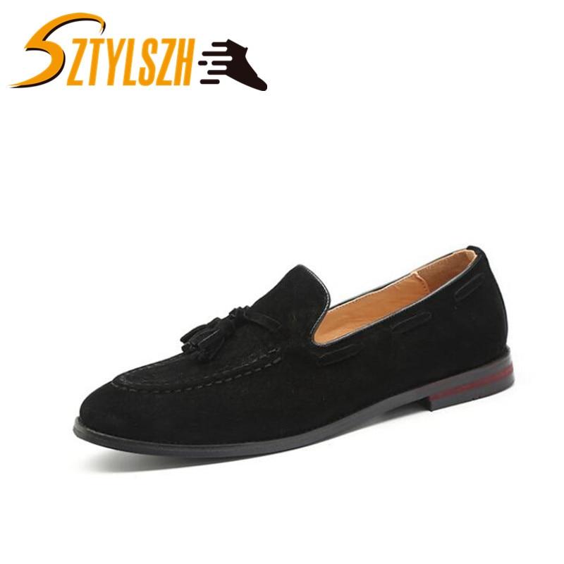 Fashion Classic Retro Men Tassels Wedding Party Handmade Loafers Men Suede Shoes Men Dress Shoe Men's Flats Driving Shoe Wholesa