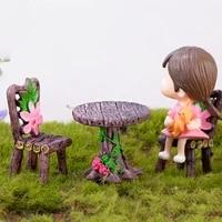 3pcs simulation mini table chair furniture model toys for doll house decoration miniature terrarium figurine decoration