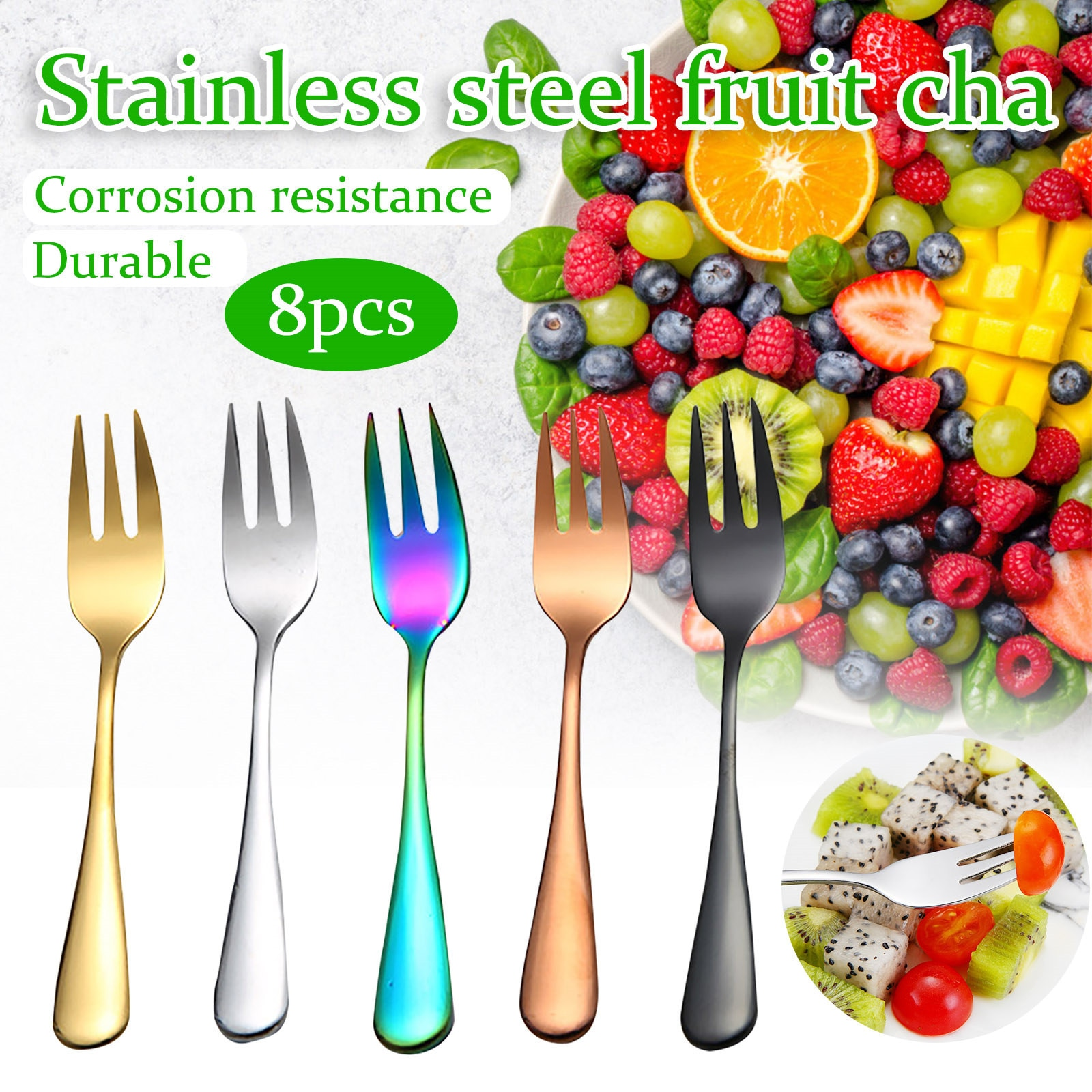NEW 8pc Stainless Steel Colourful Forks For Fruit Desserts Stainless Steel Small Fruit Fork Set Gold Dessert Ice Cream Cake Fork